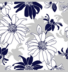 seamless pattern with blue flowers vector image