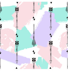 seamless pattern with tribal arrows triangles and vector image