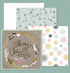 set christmas card with wreath snowflakes vector image