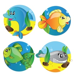 set of images of the marine life vector image