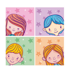 set of kids cartoons vector image