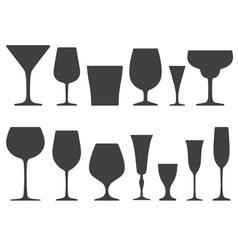 set of wineglass and glass icons isolated on vector image