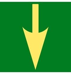 Sharp Down Arrow flat yellow color icon vector