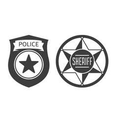 sheriff and police badge icon vector image