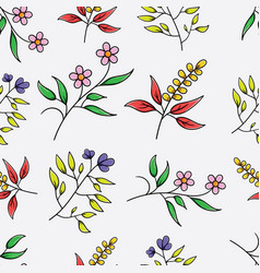 Simple colorful botanical seamless pattern vector
