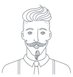 Simple style portrait hipster man barber shop vector