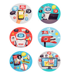 Six round spam bot icons vector