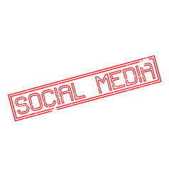 social media rubber stamp vector image