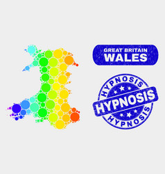 Spectral mosaic wales map and grunge hypnosis vector