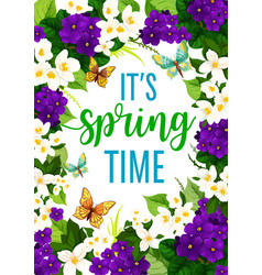 Springtime crocuses flowers frame poster vector