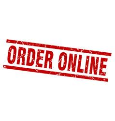 Square grunge red order online stamp vector