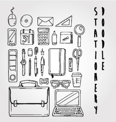 Stationery doodle set collection vector