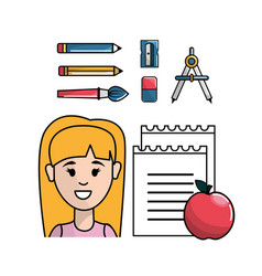 Student with school tools to learnd vector