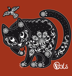 Stylized black and white patterned cat on red vector
