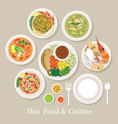 Thai Food and Cuisine Set vector