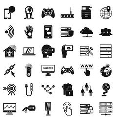 Transmitter icons set simple style vector