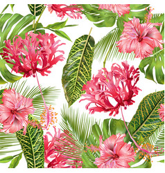 tropical flower seamless pattern vector image
