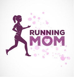 Typographic running mom text vector