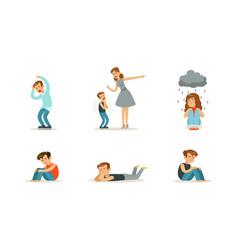 unhappy depressed children set stressed kids vector image