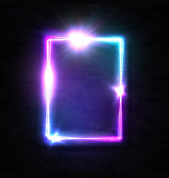 vertical neon rectangle sign on black brick wall vector image
