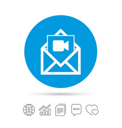 Video mail icon video camera symbol message vector