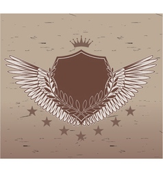 vintage emblem with shield vector image vector image
