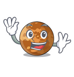Waving picture of a cartoon mercury planet vector