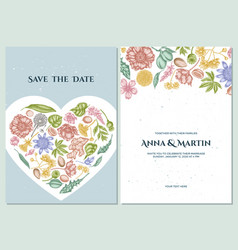 Wedding invitation card with pastel almond vector