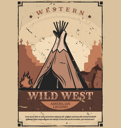 Wigwam dwelling wild west fire and horses vector