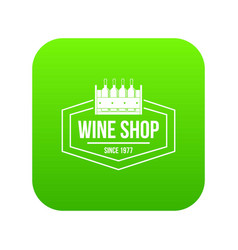 wine shop icon green vector image