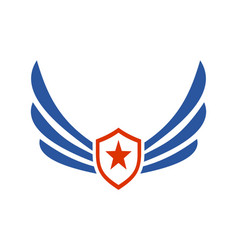 Wings star power logo icon vector