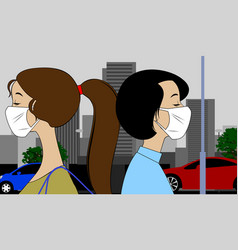 women in isolation wearing medical masks to vector image