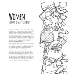 women items and accessories web banner colourless vector image