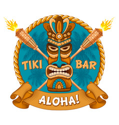 Wooden tiki mask and signboard of bar vector