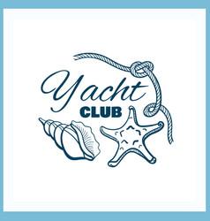 Yacht club badge with seashells vector