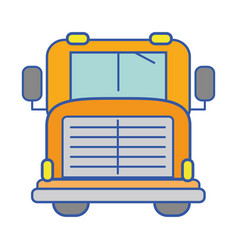 Yellow school bus to children transportation vector