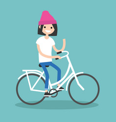 Young brunette girl riding a bike and waving her vector