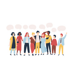 Young men and women standing together and speech vector
