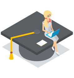 young tiny girl in glasses sitting with laptop on vector image