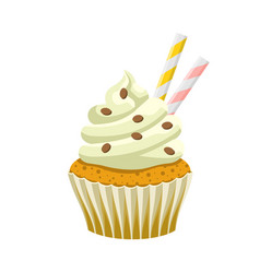 Yummy sweet cupcake with cream color vector