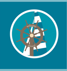 badge with ship wheel and sail canvas vector image vector image