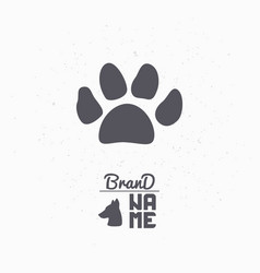 hand drawn silhouette of paw print vector image