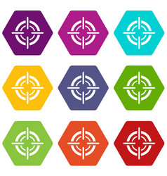 target icon set color hexahedron vector image