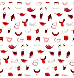 cartoon mouths pattern vector image vector image