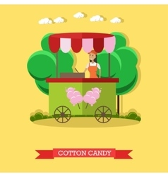 Cotton candy trolley and vector