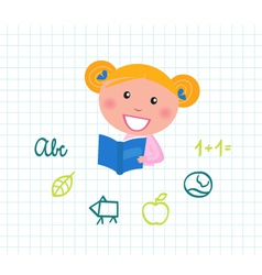 cute child reading vector image vector image