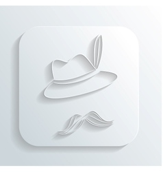 Oktoberfest hat mustache icon vector image vector image