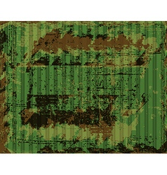 Old rusty corrugated iron with green paint peeling vector