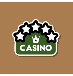 paper sticker on stylish background casino sign vector image