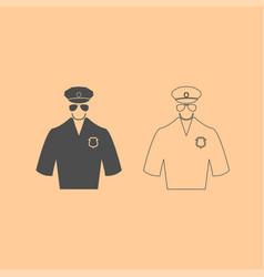 police dark grey set icon vector image